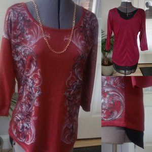 Maurices 3/4 Sleeved T w/ Sheer Contrast Back